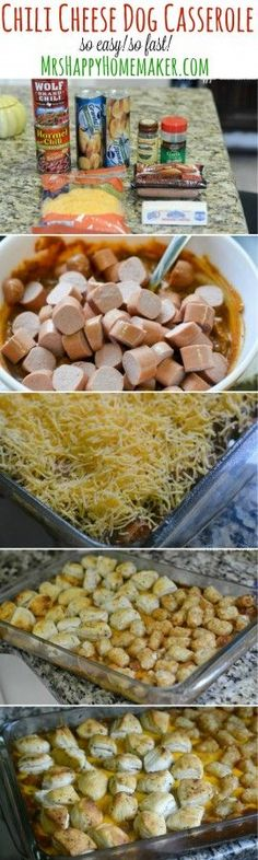 You can do this Chili Cheese Dog Casserole 2 ways – both ways are so very good! You may already have everything on hand to make it too. The flavor along with it's simplicity & quick preparation has all the makings of a winning recipe. If you like chili cheese dogs, you're gonna fall in love with this casserole!   MrsHappyHomemaker.com @thathousewife