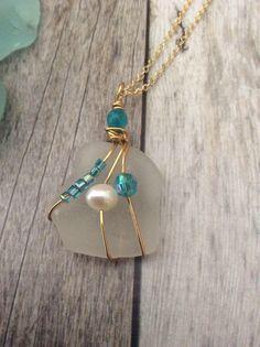 Beautiful  White Sea Glass Pendant by JNsArtnTreasures on Etsy https://www.etsy.com/listing/547165056/beautiful-white-sea-glass-pendant