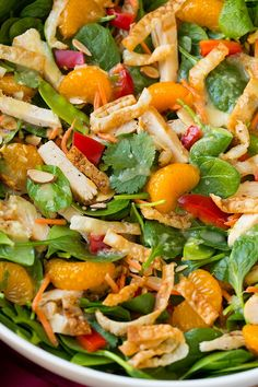 Mandarine Orange Spinach Salad with Chicken and Lemon Honey Ginger Dressing - Cooking Classy Spinach Salad With Chicken, Grilled Chicken Salad, Chicken Salad Recipes, Healthy Salad Recipes, Spinach Salads, Spinach Recipes, Clean Eating Recipes, Healthy Eating, Cooking Recipes