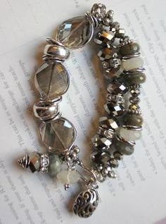 2c0f4cece Charm bracelet grey bracelet labradorite by leona Beaded Jewelry Designs,  Bracelet Designs, Gemstone Beads