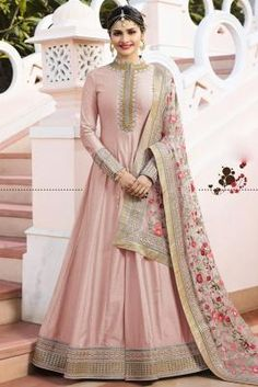 Light Green color Anarkali Gown Suit with embroidery green color gown - Green Things Silk Anarkali Suits, Anarkali Gown, Patiala Salwar, Salwar Suits, Cotton Anarkali, Sharara Suit, Lehenga Blouse, Silk Sarees, Indian Gowns Dresses