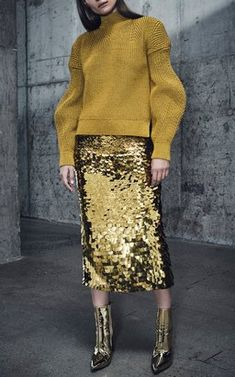 Metallic Rounded Arm Sweater and Sequin Pencil Skirt by Sally LaPointe
