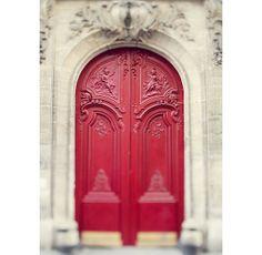 Red Door, Paris - Will You Take the Red Door or the Blue Door - Romantic Fine Art Paris Photography, Valentine - Set of Two 5x7 prints