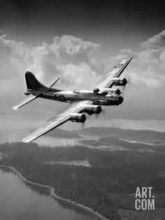 1940s US Army Aircraft World War II B-17 Bomber in Flight Photographic Print