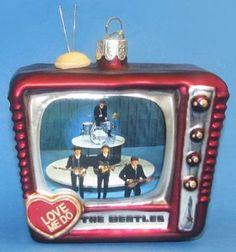 BEATLES ED SULLIVAN TV GLASS ORNAMENT