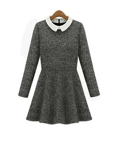 A Lined Elegant Long Sleeve Doll Collar Pleated Wool Dress
