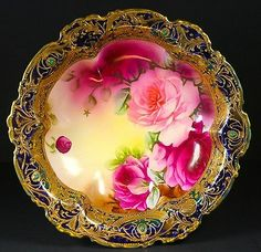 9 inch Nippon Bowl with Jewels and Fuchia Roses Scalloped Gold Rim | eBay