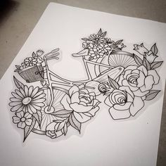Flowery bicycle cause even bikes want flower crowns!! To book this tattoo email…