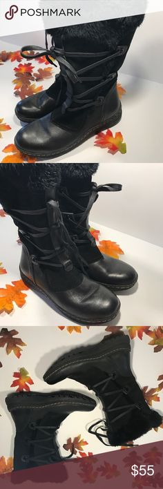 Black Leather Faux Fur Lined Boots Cozy, Warm, and water-resistant! Black Leather with faux Fur details Side zip closure. Worn once, in excellent condition. Women's Size 7.5 No trades! Open to reasonable offers! Shoes Winter & Rain Boots