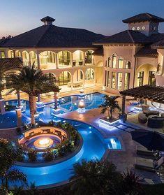 Dream Home Design, House Design, Design Design, Dream Mansion, Luxury Pools, Modern Mansion, Modern Houses, Custom Pools, Luxury Homes Dream Houses