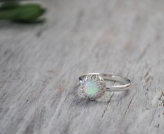 Opal Ring in Sterling Silver Handcrafted by PrairieCoastArt