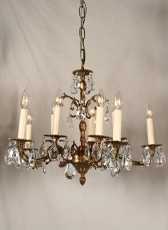 115 best chandeliers images on pinterest chandelier chandeliers vintage crystal chandelier w spanish castings in antique brass c 1950 www aloadofball