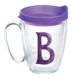 """Initials Sequins """"B"""" 15 Oz. Mug with Lid"""