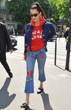 If your denim game is due for an upgrade, consider patched and painted jeans like this pair Bella Hadid is rocking.