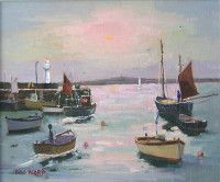Eric Ward  Painting ' Morning Sun at St Ives Harbour ' online at www.navigatorarts.co.uk promoting Cornish Contemporary Art.