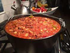 Spicy Moose Chili in a Dutch Oven