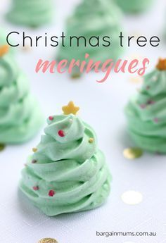 These adorable little CHRISTMAS TREE MERINGUES are the perfect sweet Christmas treat or even DIY homemade gift http://bargainmums.com.au/christmas-tree-meringues