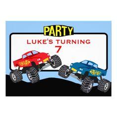 Kids Monster Truck Birthday Party Invitation