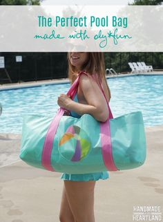 DIY Perfect Pool Bag made with oly*fun by @fairfieldworld.  instructions on how to make this wide and shallow pool bag, perfect for seeing all your stuff!