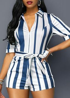 Turndown Collar Zipper Front Stripe Print Belted Romper in 2020 Sexy Outfits, Casual Outfits, Fashion Outfits, Womens Fashion, Fashion Clothes, Striped Playsuit, African Fashion Dresses, Stripe Print, Jumpsuits For Women