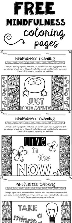 Stress management : FREE mindfulness coloring pages to help with relaxation and positive thinking Mindfulness For Kids, Mindfulness Activities, Meditation Kids, Counseling Activities, Therapy Activities, Therapy Ideas, Play Therapy, Art Therapy, Grief Activities
