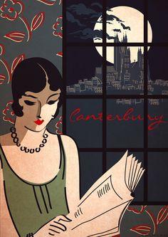 gorgeous vintage art deco posters | Art Deco Bauhaus A3 Poster Print Vintage 1930's Canterbury Cathedral ...