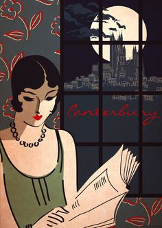 Original Design Art Deco Bauhaus Poster-Vintage Canterbury Cathedral Vogue Fashion Vanity Fair by RedGateArts. Retro Poster, Poster Vintage, Vintage Art, Vintage Style, Art Deco Illustration, Art Deco Posters, Poster Prints, Art Print, Moda Art Deco