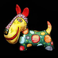 Dog art Ceramic Scotch terrier dog figurines terrier Art ceramics pottery collectible miniature figurines painted girl large animal cat sculptures statues majolica Sergei Gerasimenko people human dog decorative kettle wall panel vases bird fish
