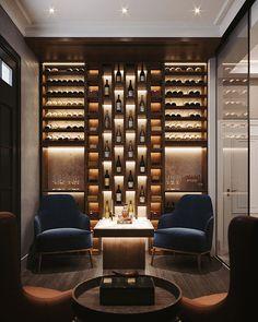 Wine-cigar room on Behance Home Bar Rooms, Home Bar Decor, Zigarren Lounges, Lounge Bar, Cigar Lounge Ideas, Cigar Lounge Decor, Wine Cellar Design, Wine Cellar Modern, Wine Bar Design
