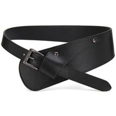 Yoins Yoins Black Asymmetric Pin Buckle Wide Waist Belt (52 VEF) ❤ liked on Polyvore featuring accessories, belts, black, wide belt, waist belt, faux leather belt, wide waist belt and vegan belt