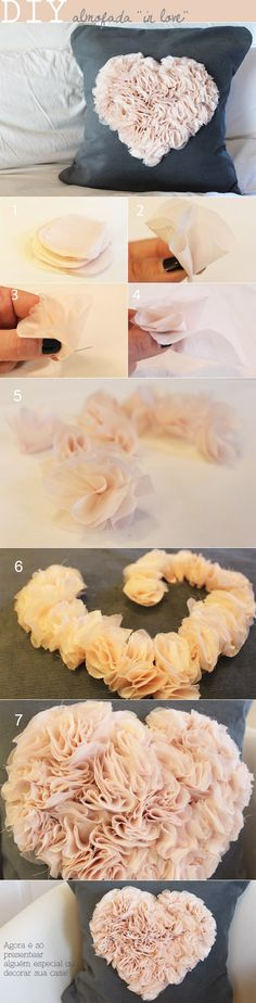"Cut a thin fabric in many circles with aprox. 10cm or 3inches diameter (1). Fold each circle so they look like a flower (2) and sew only the base (3) letting the petals lose (4) (5). Apply the flower on the ""borders""of the heart (6) and then complete the full shape inside (7). DIY from buladaarquitetura.com"