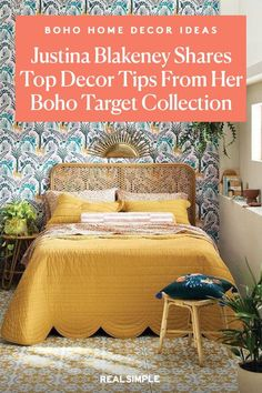 Justina Blakeney of Jungalow Shares Her Top Decor Tips and Favorite Products From Her Affordable Boho-Style Target Collection | If you love the boho home decor style, color, and houseplants, turn to the fun and affordable Target collection by Justina Blakeney of Jungalow. With pretty patterned bedding, colorful artwork, tasseled pillows, lots of planters, you can easily add personality to any room. #decorideas #homedecor #realsimple #decoronabudget #budgetdecor #homeinspiration #detail Colorful Artwork, Colorful Decor, Decorating Small Spaces, Decorating On A Budget, Justina Blakeney, Comfort Mattress, Make Your Bed, Home Decor Styles, Furniture Making