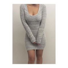 Rotita Grey Long Sleeve Bodycon Sweater Dress ($27) ❤ liked on Polyvore featuring dresses, vestidos, grey, bodycon sweater dress, long sleeve bodycon dress, grey sweater dress, gray sheath dress and grey dress