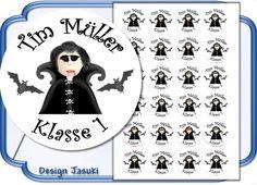 24 Sticker Name Schulanfang Einschulung Vampir von Jasuki auf DaWanda.com