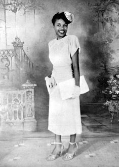"From Of Another Fashion, ""Maybe the most stylish librarian ever - check out that fascinator! Lucille Baldwin Brown was the first Black public county librarian in Tallahassee, Florida. This photograph is part of the collection at the State Library and Archives of Florida."""