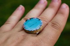 Cork ring Druzy Ring, Gemstone Rings, Handmade Rings, Cork, Gemstones, Jewelry, Jewlery, Bijoux, Schmuck