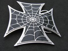 SPIDER WEB IRON CROSS GOTHIC BELT BUCKLE BELTS BUCKLES