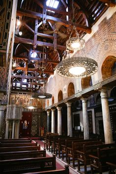 Interior of church Saint Mary El Muallaqa or Hanging Church Visit Egypt, Church Interior, Cairo, Cathedral, Africa, Architects, Photography, Ancient Art, Architecture