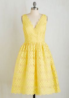 Blithely Beaming Dress by Chi Chi London - Long, Woven, Yellow, Solid, Daytime Party, Fit & Flare, Sleeveless, Better, V Neck
