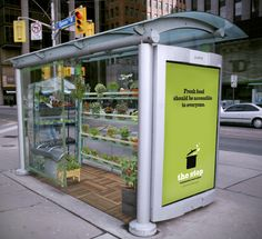 The Stop is an organization in Toronto that gives everyone access to healthy food, grown locally. By turning a bus shelter into a greenhouse, we give people the opportunity to take a piece of fresh food. (This would be maintained by staff) If they do so, they are encouraged to donate into the donation slot on the inside of the TSA.