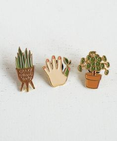 Crazy plant lady or green thumb Plant Lady Enamel Pins