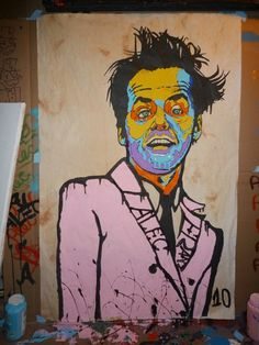 Jack Nicholson, pop art, graffiti style street art by Alec Monopoly