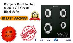 Bompani Built In Hob, 60cm,4 GB,Crystal Black, Safety Tempered Glass Hob Front control panel BLACK Finish Cast iron grids 4 burners: 1 rapid, 2 semi-rapid, 1 auxiliary Electronic ignition under knob Flame failure device on all burners Call: +971 4269 1506