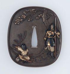 Tsuba with design of two archers in early Japanese warrior attire. Edo period–Meiji era mid to late 19th century -  Maejima Morikane (born in 1843), Mito School http://www.mfa.org/collections/object/tsuba-with-design-of-two-archers-in-early-japanese-warrior-attire-11659