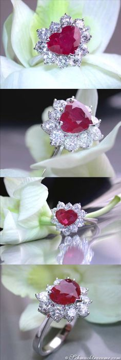 High-end Burma Ruby Diamond Heart Ring, 3,58 cts. WG18K - Visit: schmucktraeume.com - Like: https://www.facebook.com/pages/Noble-Juwelen/150871984924926 - Contact: info@schmucktraeume.com
