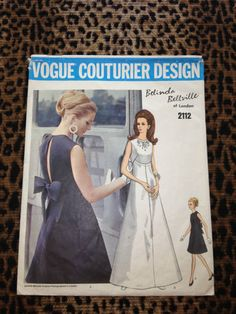 Vintage 60s Vogue Couturier Belinda Bellville Evening Dress Pattern 2112     if only this was my size
