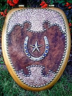 Western Novelty Toilet Seats with Genuine Leather & Hair on Hide