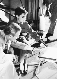 Audrey Hepburn & William Holden on the set of Sabrina (1954)