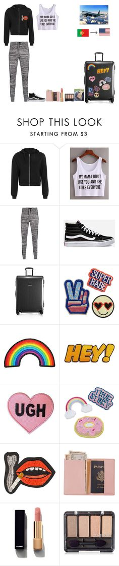 """Trip to USA"" by fatimairwin ❤ liked on Polyvore featuring Topshop, WithChic, Zoe Karssen, Vans, Tumi, Olympia Le-Tan, Royce Leather and Chanel"