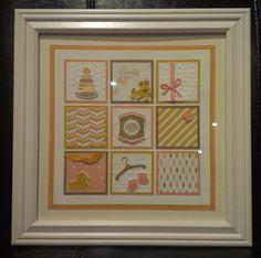 Stampin Up Something for Baby Girl gift framed art by Gloria Kremer, Facebook Girlfriend Originals.